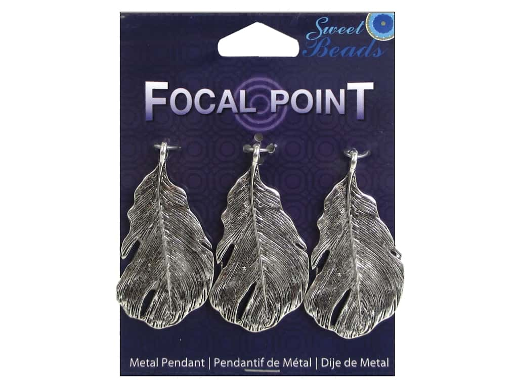 Sweet Beads EWC Focal Point Pendant Metal Feather 48mm Silver 3pc