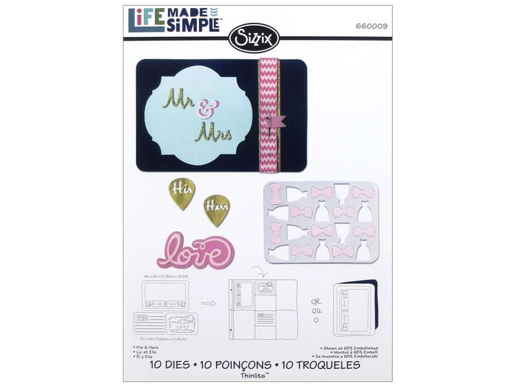 Sizzix Thinlits Die Set 10 pc. His & Hers