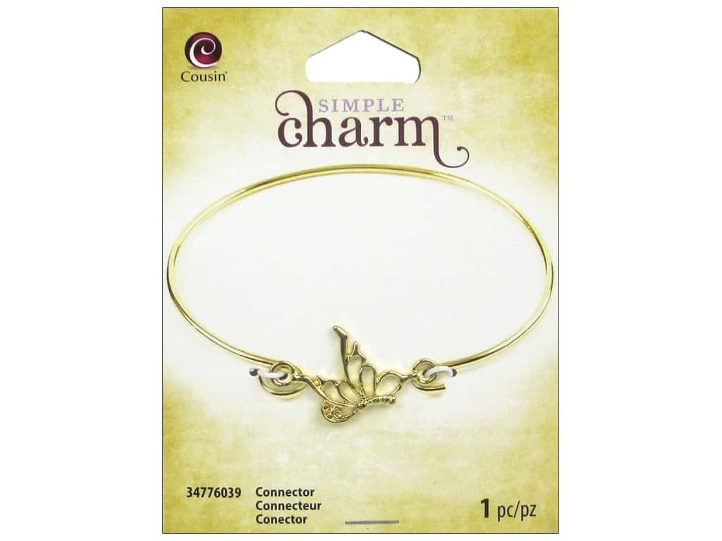 Cousin Simple Charm Connector Side Butterfly Gold