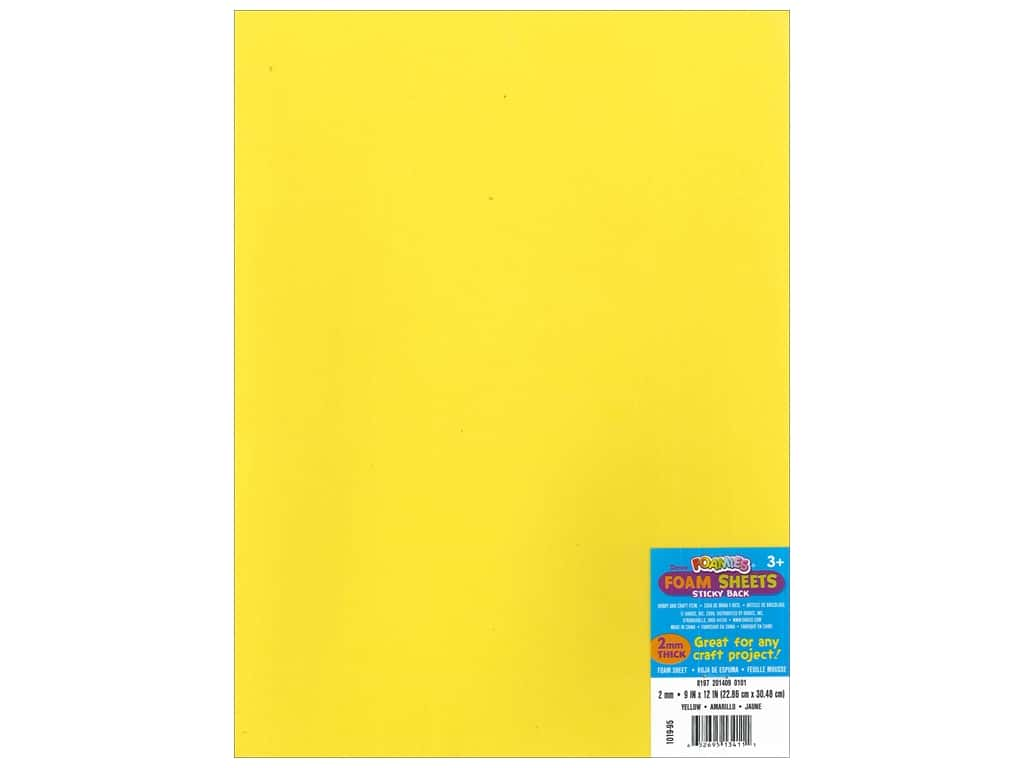 Darice Foamies Sticky Back Sheets 9 x 12 in. 2 mm. Yellow (10 sheets)