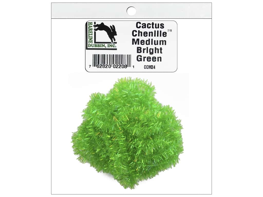 Hareline Dubbin Cactus Chenille Medium Bright Green