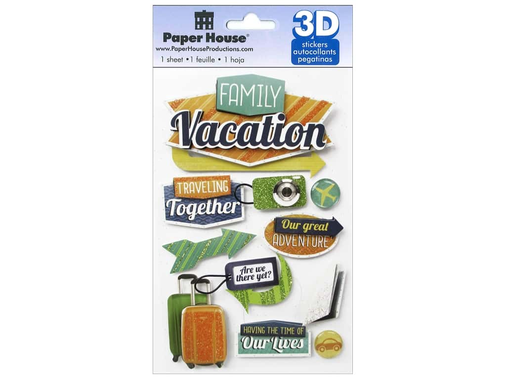 Paper House Sticker 3D Family Vacation