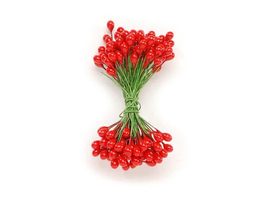 Darice Holly Berries Stamens 5/16 in. Red 144 pc.