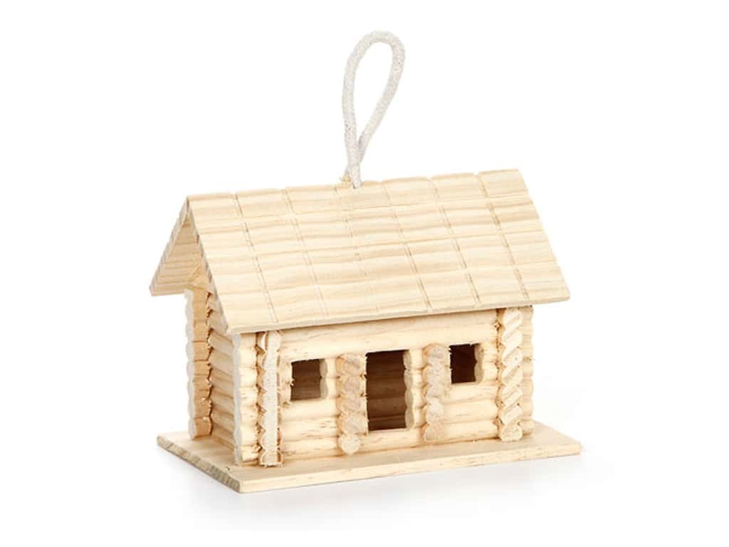 Darice Wood Log Cabin Bird House Unfinished 6 x 4 1/2 x 4 in.