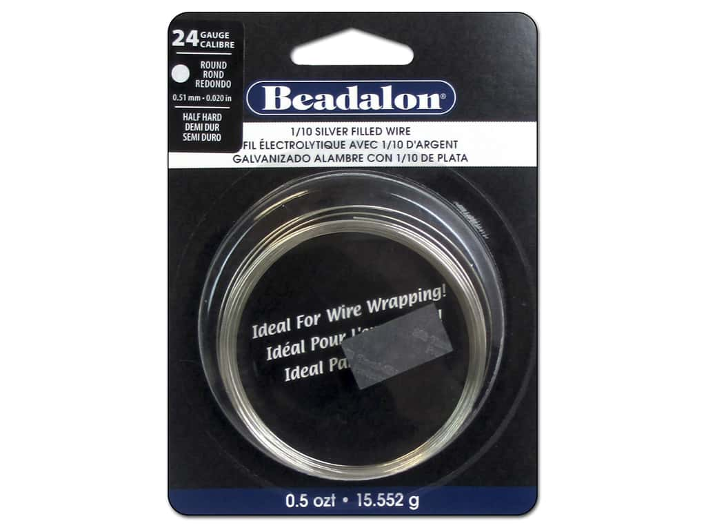 Beadalon 1/10 Silver Filled Wire 24 ga Round Half Hard 0.5 oz.