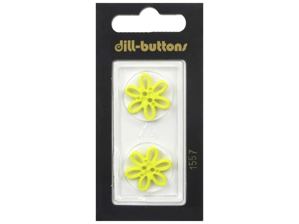 Dill 2 Hole Buttons 3/4 in. Yellow Daisy #1557 2 pc.