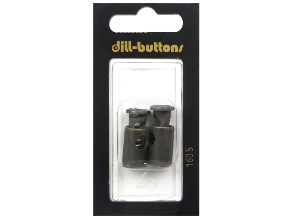 Dill Buttons Cord Stoppers 7/8 in. Antique Brass #1605 2 pc.