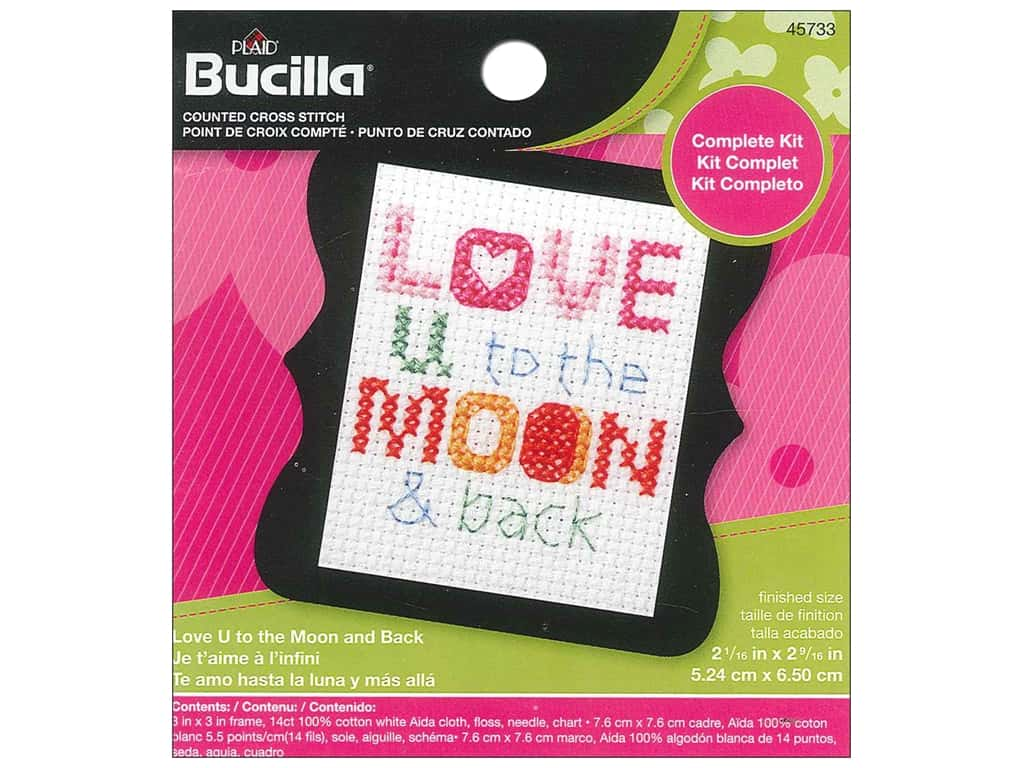 Bucilla Counted Cross Stitch Kit 2 1/2 in. Mini Love You To The Moon & Back