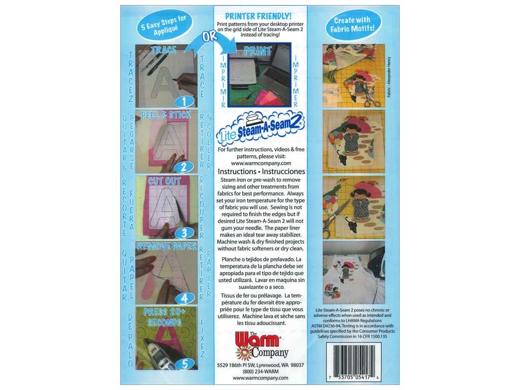 The Warm Company Lite Steam-A-Seam 2 Fusible Web 9 x 12 in. Sheets 5pc.