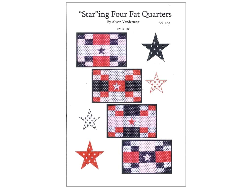 """QuiltWoman.com """"Star""""ing Four Fat Quarters Pattern"""
