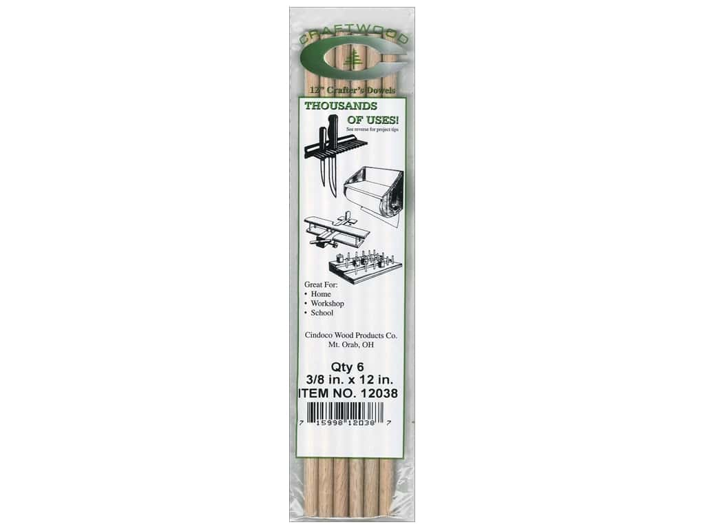 Cindoco Wood Dowels 12 x 3/8 in. 6 pc. (8 pieces)