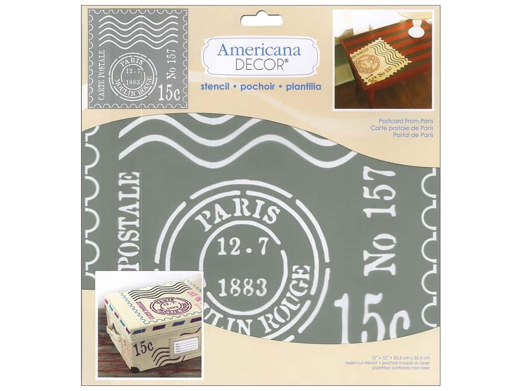 DecoArt Americana Decor Stencil 12 x 12 in. Postcard From Paris