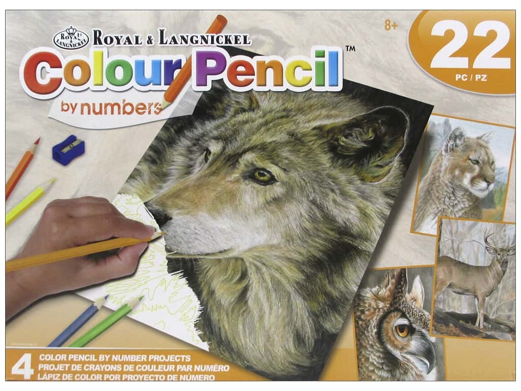Royal Colour Pencil by Number Activity Set Wild Life