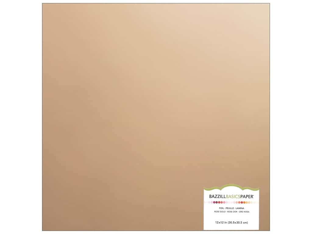 Bazzill 12 x 12 in. Foil Cardstock Rose Gold (15 sheets)