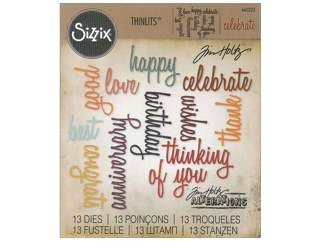 Sizzix Tim Holtz Thinlits Die Set 13 pc. Celebration Words: Script
