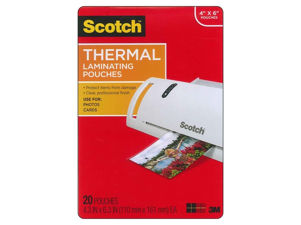 Scotch Laminating Pouch Thermal Photo 4 in. x 6 in. 20 pc