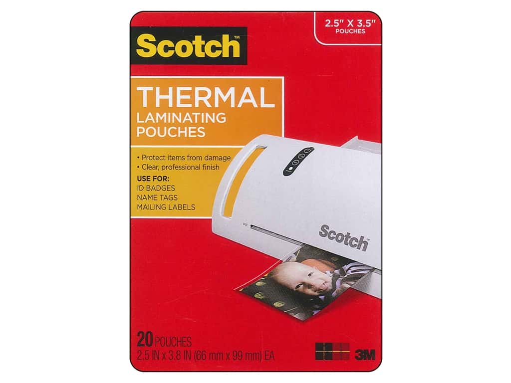 Scotch Laminating Pouch Thermal Wallet 2.5 in. x 3.8 in. 20 pc