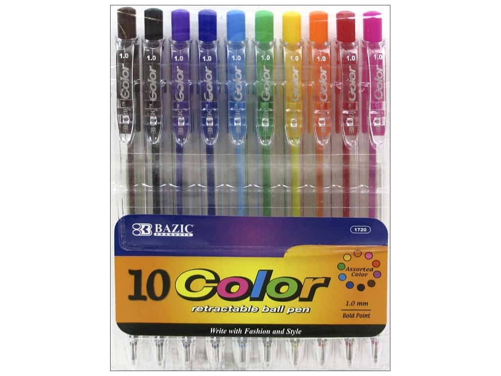 Bazic Basics Pens 10 pc. Retractable Ball Point