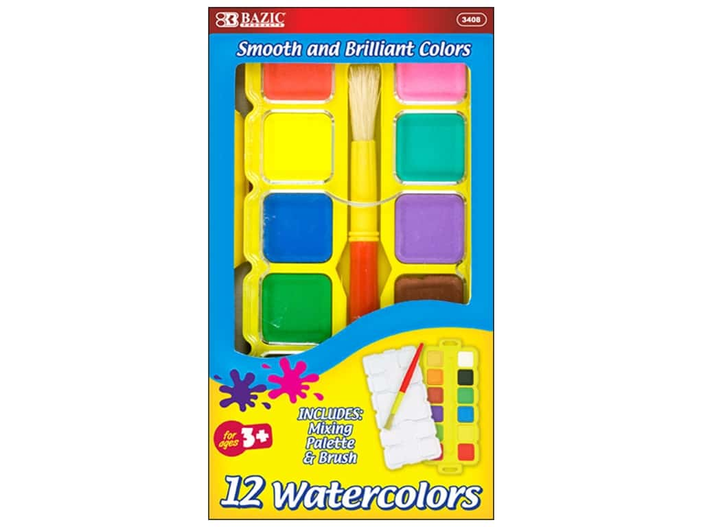 Bazic Watercolor Paint Set with Palette & Brush