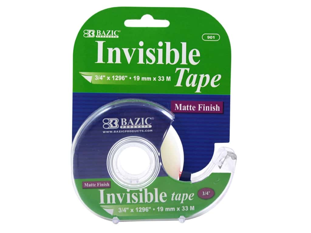 Bazic Basics Invisible Tape with Dispenser 3/4 x 1296 in.