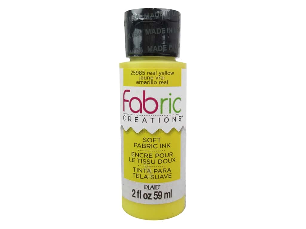 Plaid Fabric Creations Soft Fabric Ink 2 oz. Real Yellow