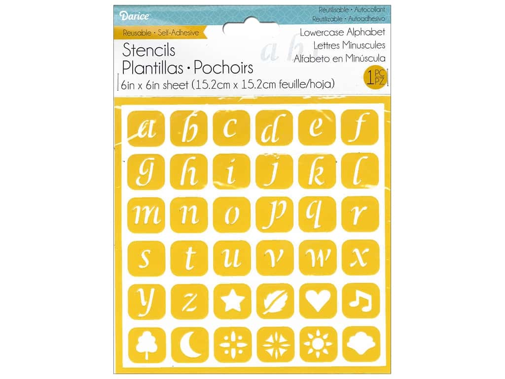 Darice Self Adhesive Stencil 6 x 6 in. Lowercase Alphabet