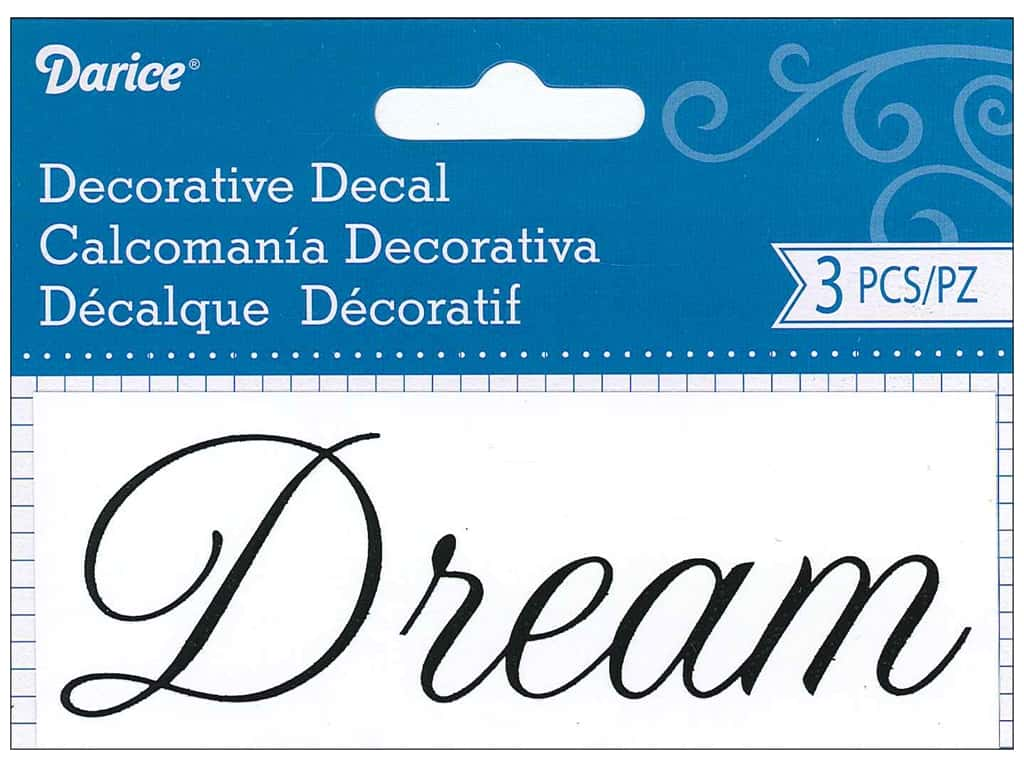 Darice Decorative Decal 1 3/4 x 4 1/2 in. Dream 3 pc.