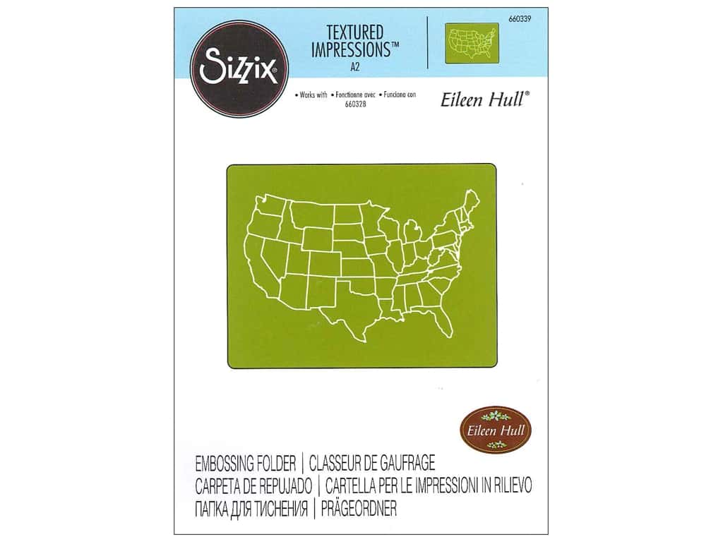 Sizzix Textured Impressions Embossing Folders 1 pc. United States Map