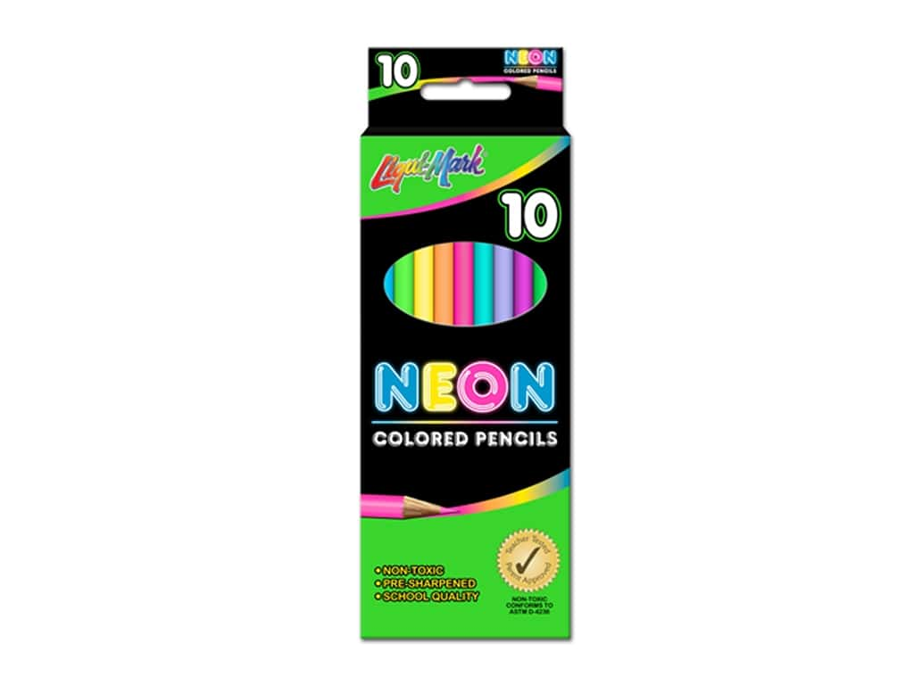 Liquimark Colored Pencil Set 7 in. Neon 10 pc