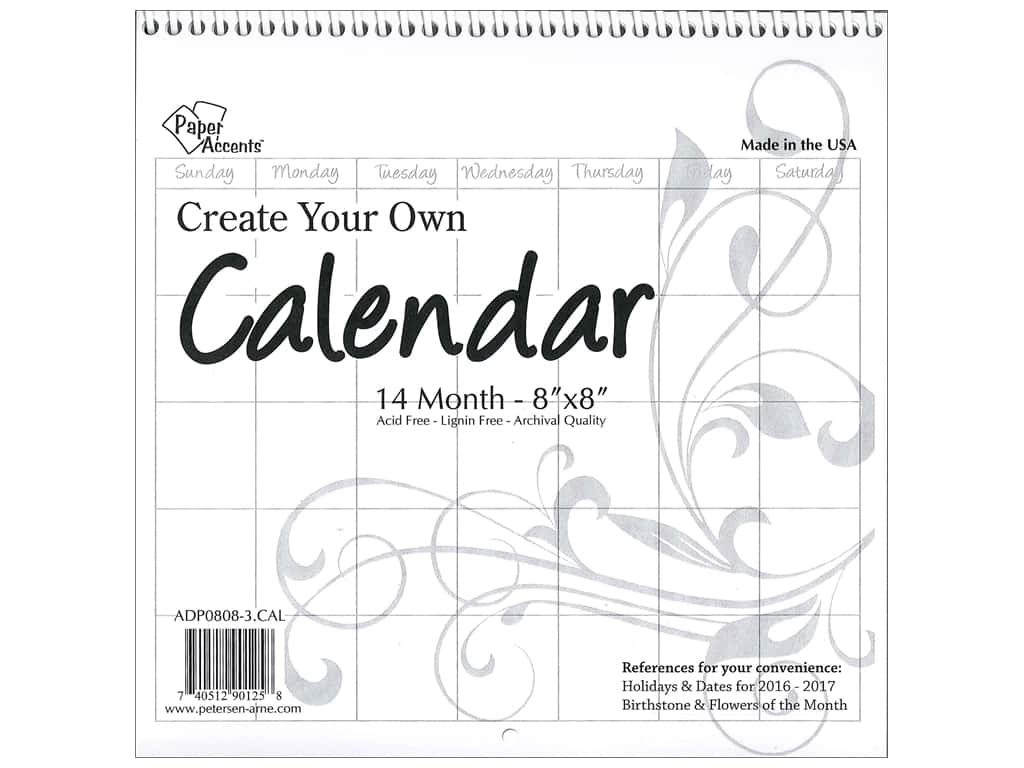 Paper Accents Calendar Create Your Own 8 x 8 in. 14 Month Blank White
