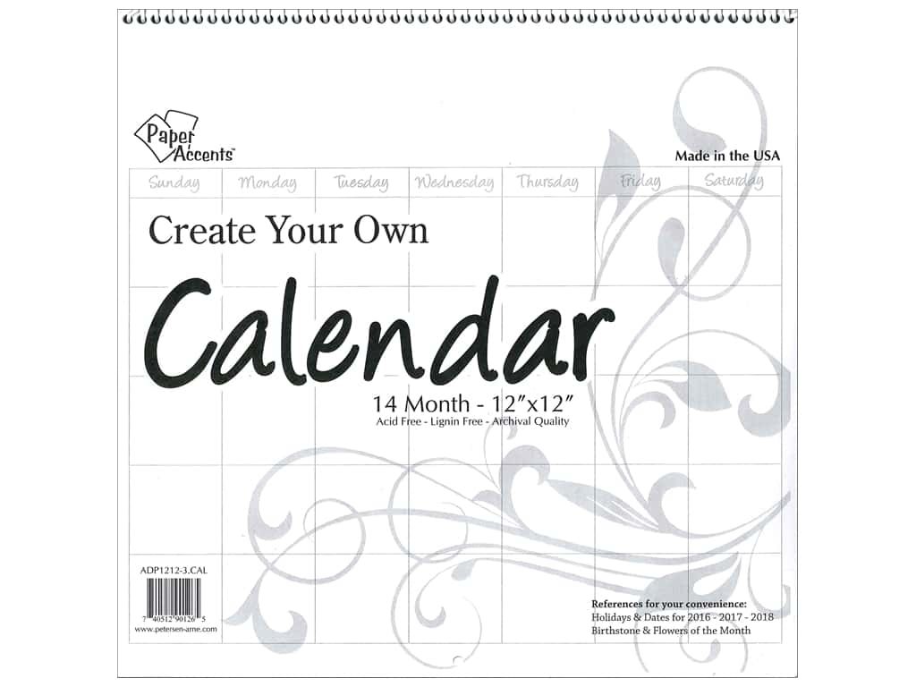 Paper Accents 14 Month Blank Calendar 12 x 12 in. White