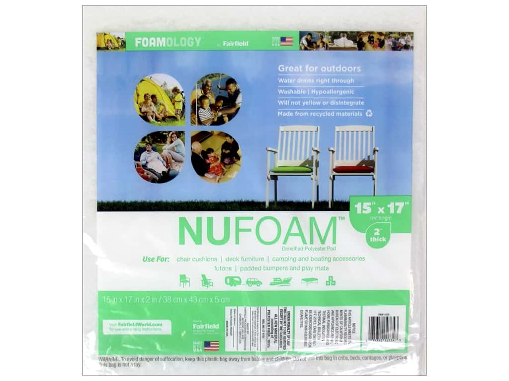 Fairfield Nu Foam Polyester Pad 15 x 17 x 2 in.