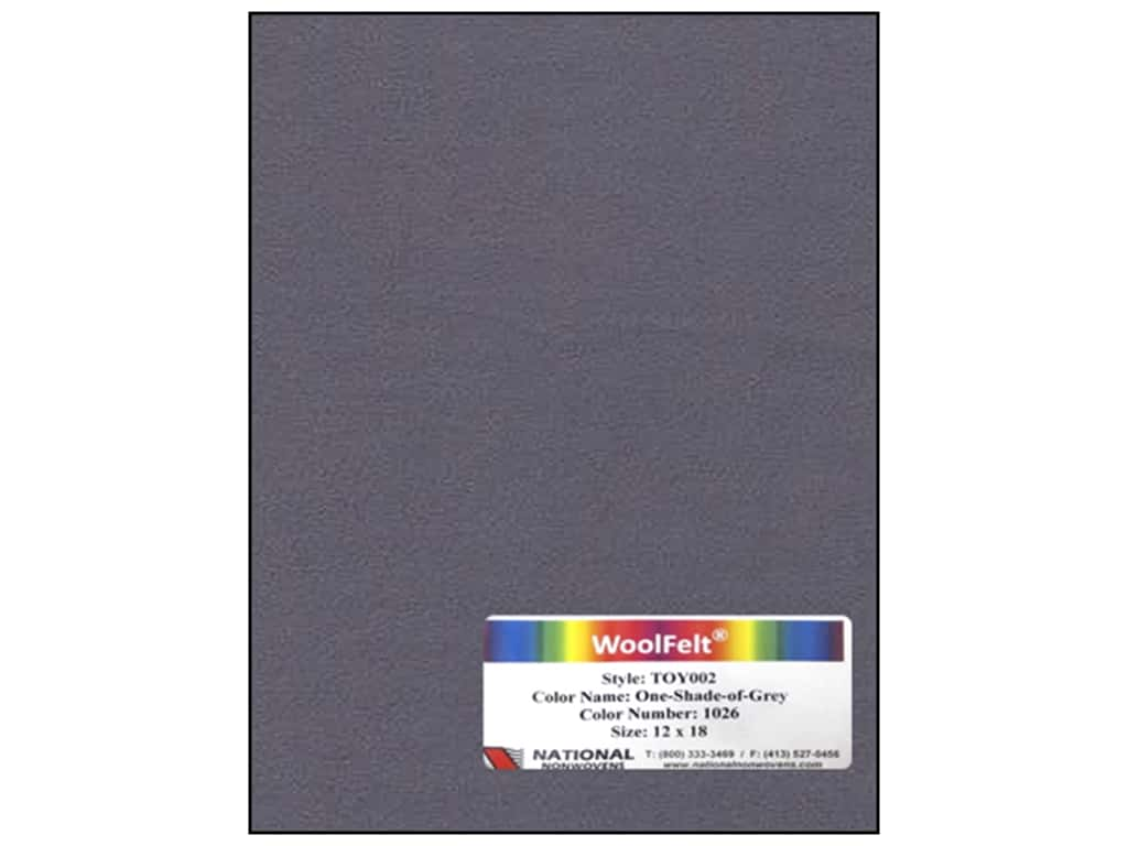 National Nonwovens 35% Wool Felt 12 x 18 in. One Shade Of Grey (10 sheets)