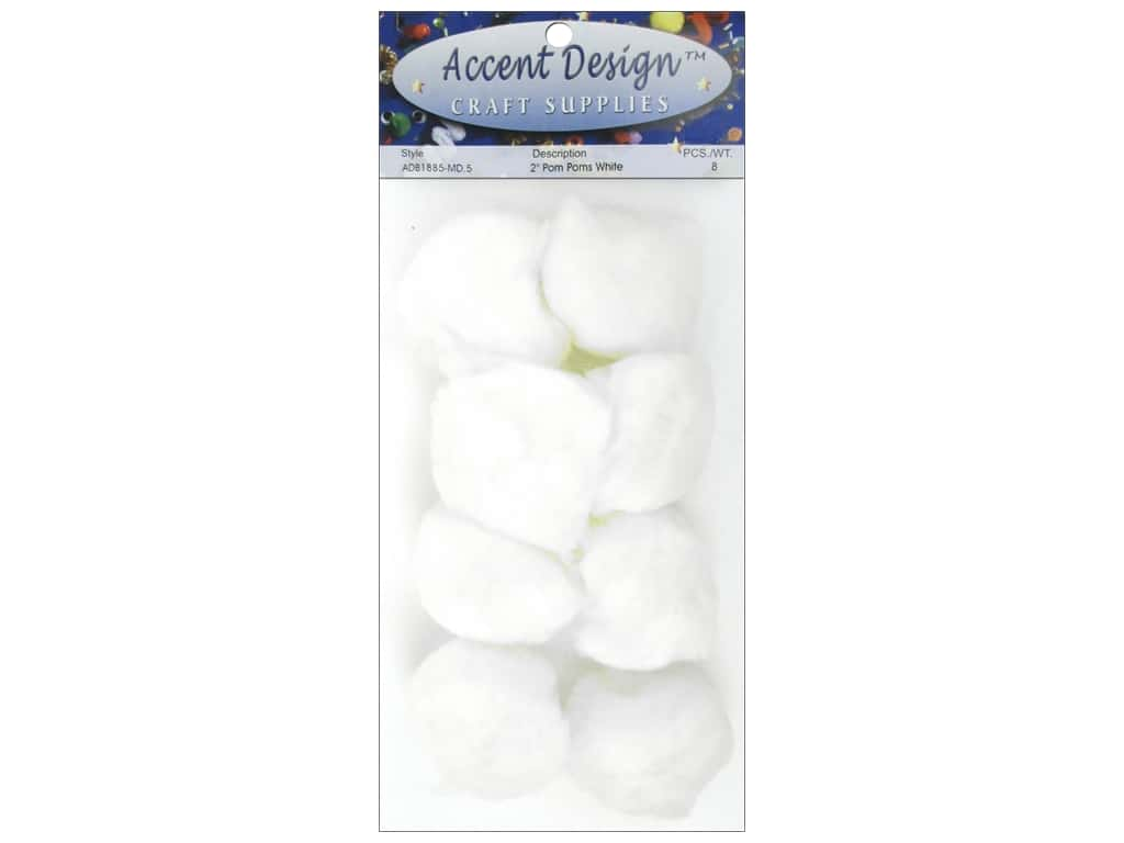 PA Essentials Pom Poms 2 in. White 8 pc.