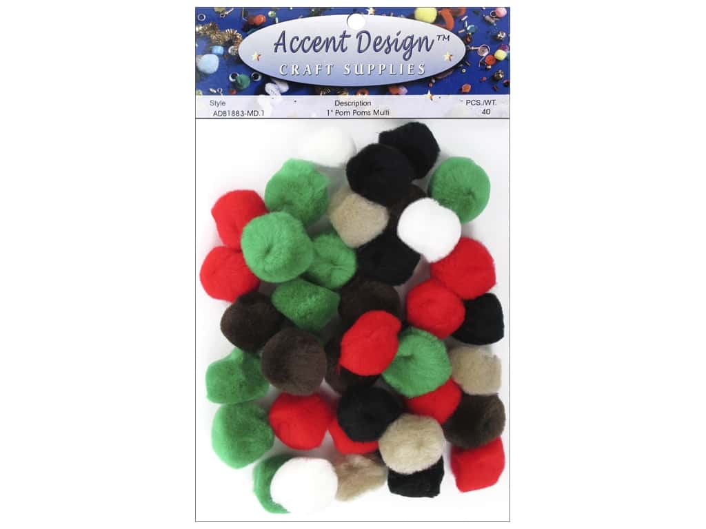 PA Essentials Pom Poms 1 in. Multi 40 pc .