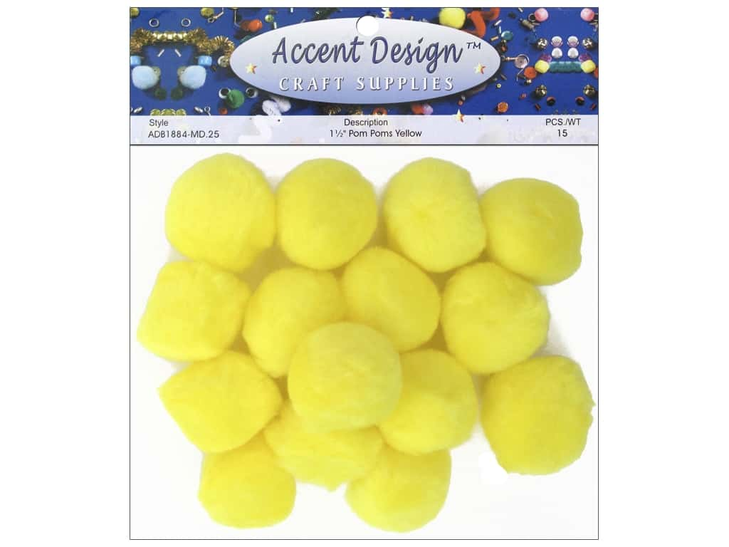 PA Essentials Pom Poms 1 1/2 in. Yellow 15 pc.