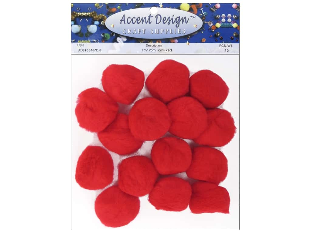PA Essentials Pom Poms 1 1/2 in. Red 15 pc.