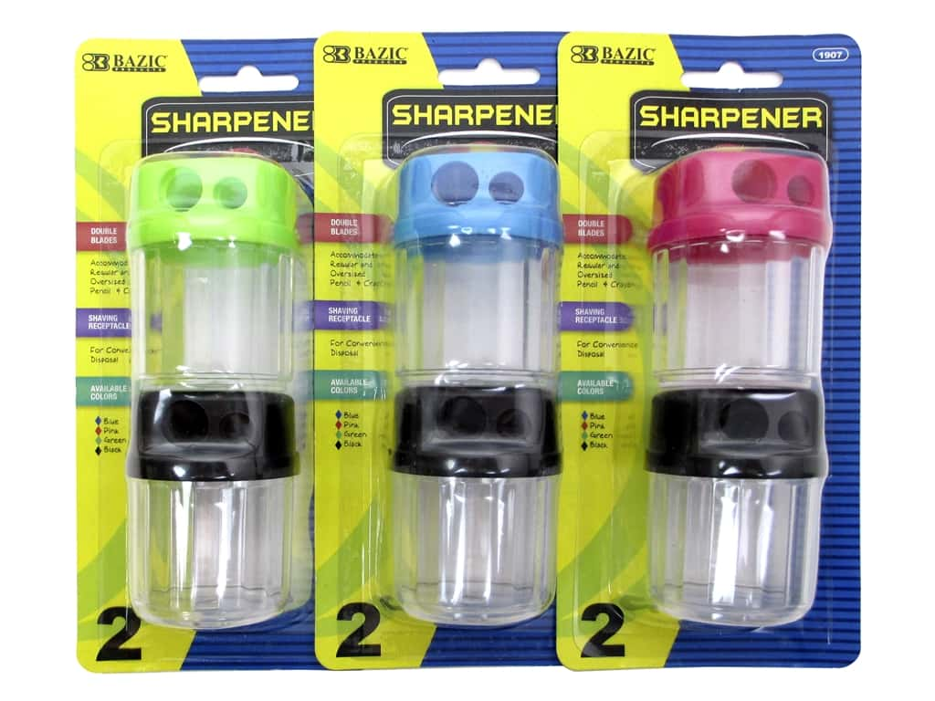 Bazic Basics Pencil Sharpener With Receptacle Assorted