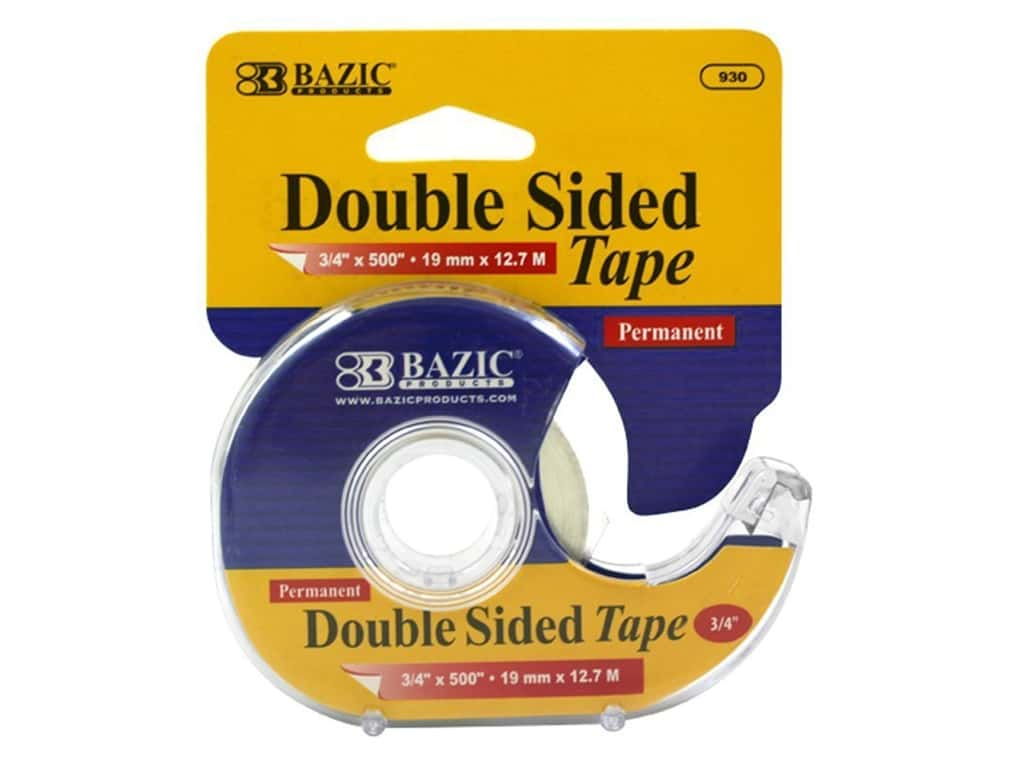 "Bazic Tape Double Sided Permanent With Dispenser 3/4""x 500"""
