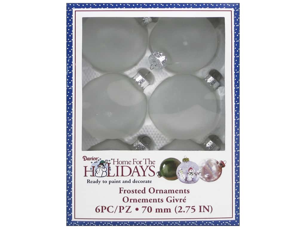 Darice Glass Ball Ornaments 2 3/4 in. Frosted 6 pc.
