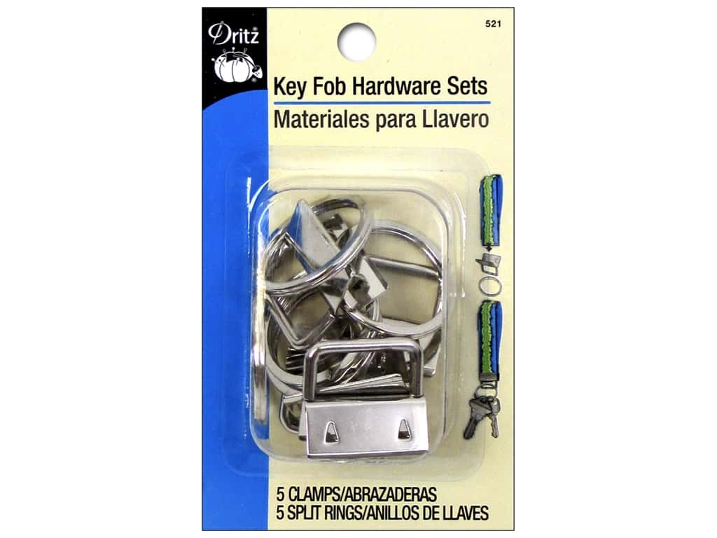 Dritz Key Fob Hardware Silver 5pc