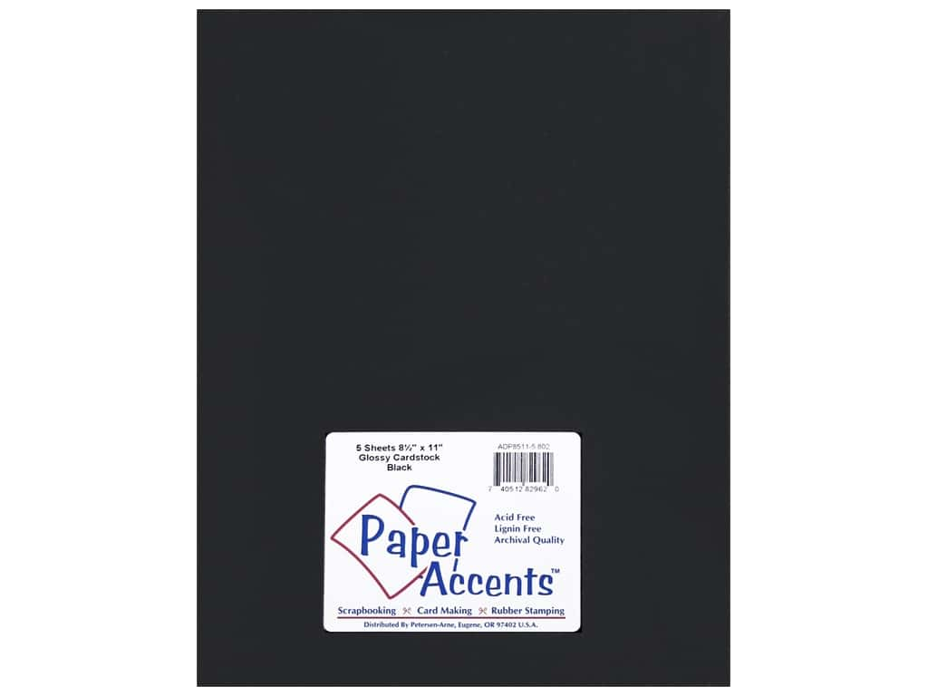 Paper Accents Cardstock 8 1/2 x 11 in. Glossy Black 5 pc.