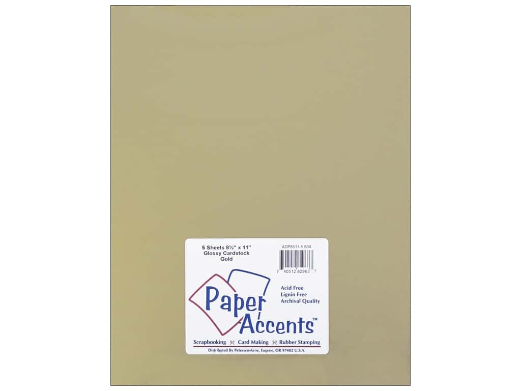 Paper Accents Cardstock 8 1/2 x 11 in. Glossy Gold 5 pc.
