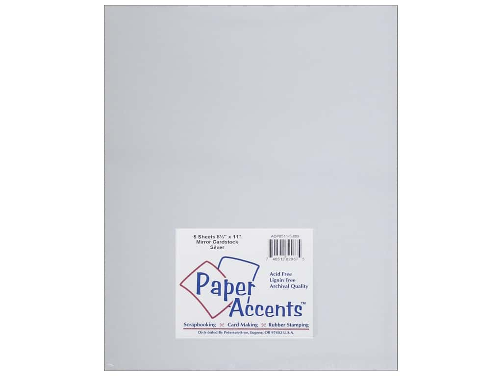 Paper Accents Cardstock 8 1/2 x 11 in. Mirror Silver 5 pc.