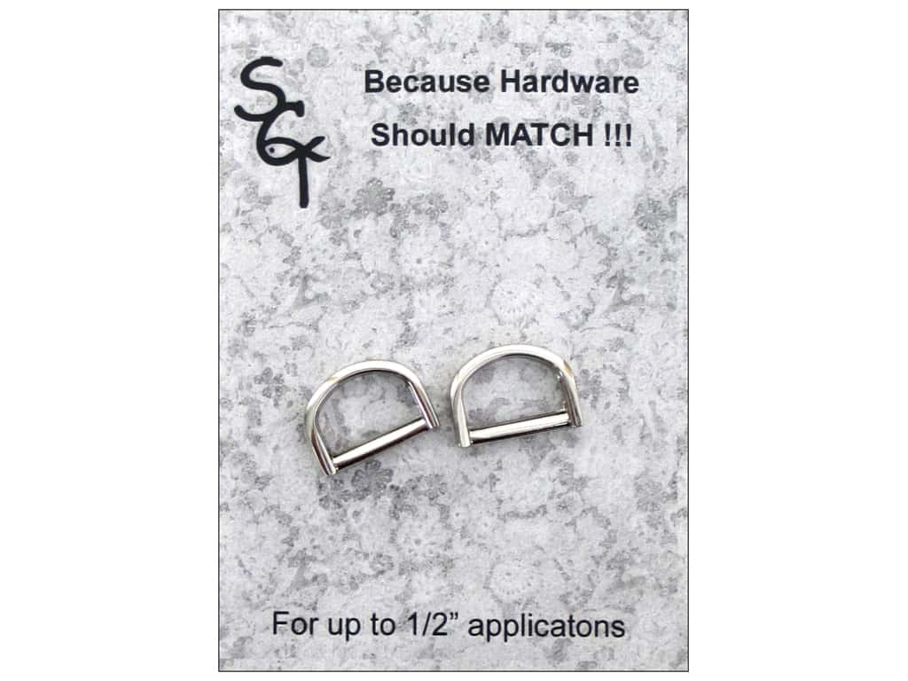 """Sisters Common Thread Hardware D Ring .5"""" Nickel 2pc"""
