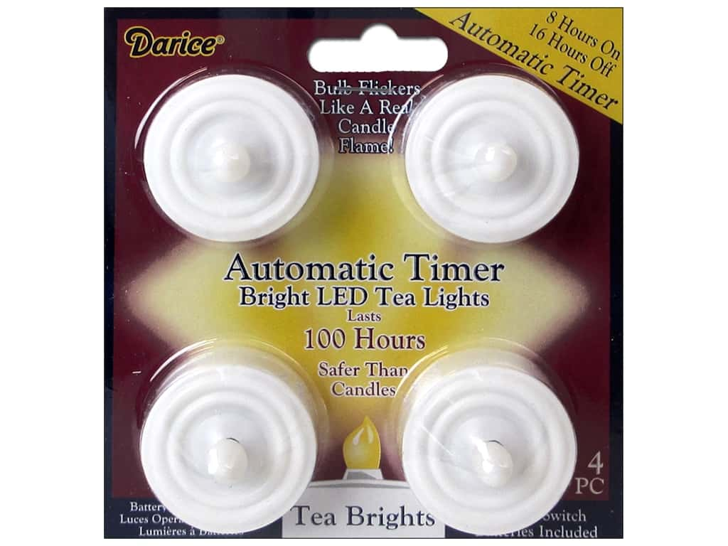 Darice Lights Bright LED Tea Light with Timer 100 Hours 4pc