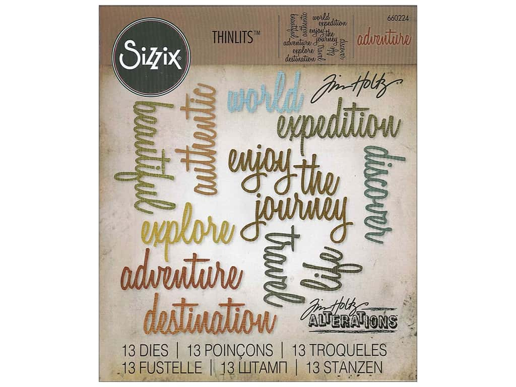 Sizzix Thinlits Die Set 13 pc. Adventure Words: Script