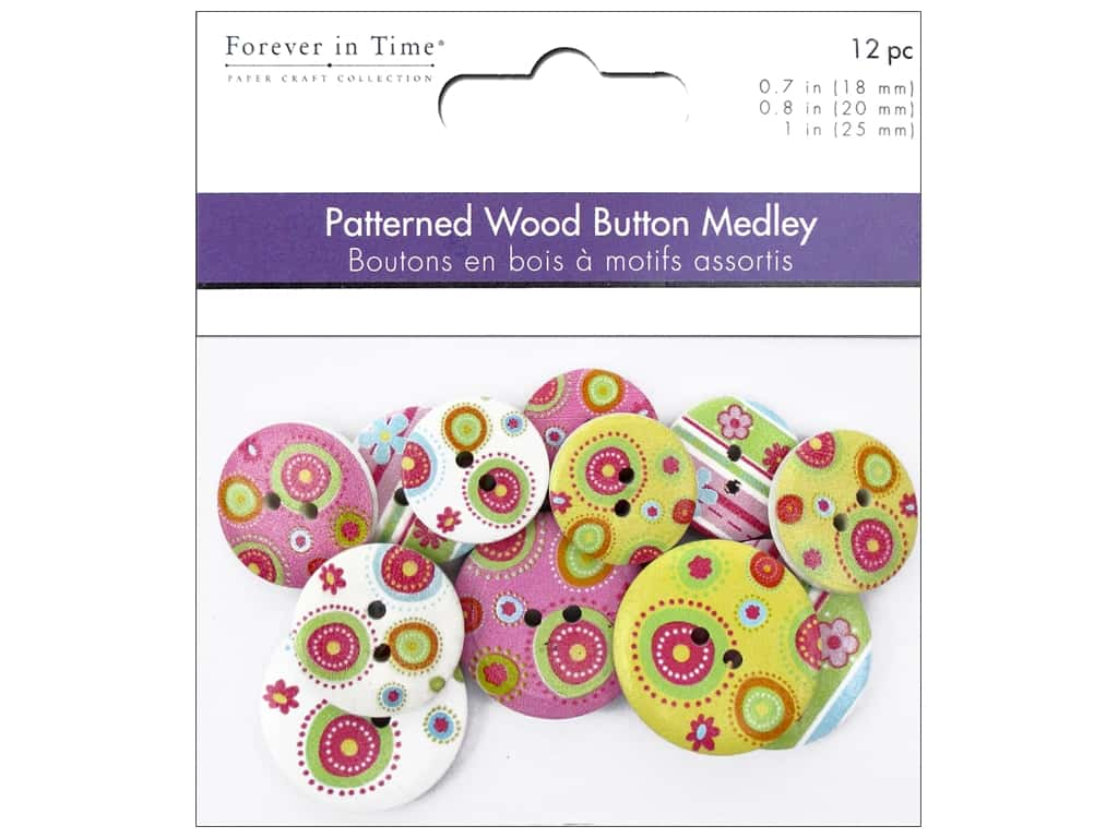 Multicraft Buttons Wood Assorted Groovy