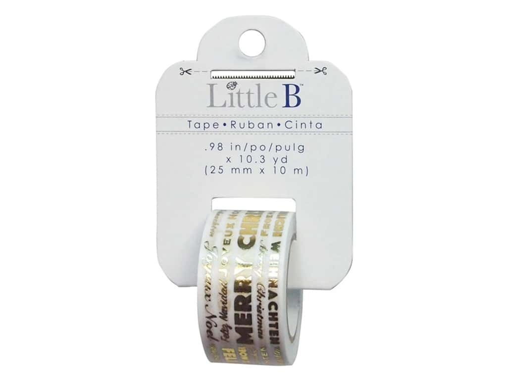 Little B Decorative Paper Tape 1 in. Gold Foil Merry Christmas Word Play
