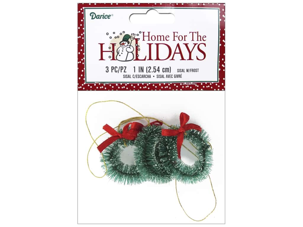 Darice Holiday 1 in. Sisal Wreath Frost 3 pc